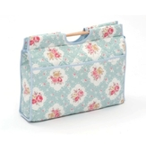 HobbyGift | Knit Craft Bag | Floral on Turquoise with wooden handle [CLEARANCE]