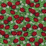 Ladybugs & Daisies on Green Fabric Fat Quarter
