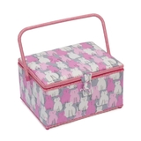 Large Modern Kitty Pink Sewing Basket