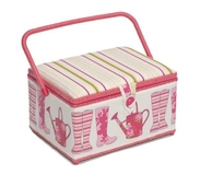 Garden Decorated Pink Large Sewing Box