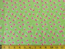 Lime Flowers and Polka Dots C6246 Fabric Cut, Single 145 x 110cm