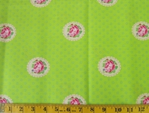 Lime Flowers and Polka Dots Fabric Cut, Single 145 x 110cm