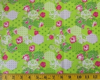 Lime Patchwork Flowers Fabric Cut, Single 145 x 110cm