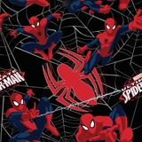 Marvel Ultimate Spiderman Web on Black Flannel Fabric