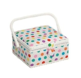 Medium Colourful Polka Dots on White Sewing Box