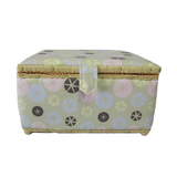Medium Pastel Multi Buttons on Tan Sewing Basket