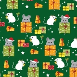 Meowy Christmas Multi Mice & Gifts on Green Fabric