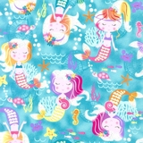 Mermaid Wishes Mermaids & Sea Creatures on Blue Fabric