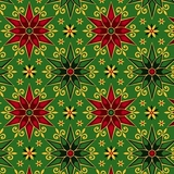 Miracle in Bethlehem Geo Poinsettias on Green Fabric