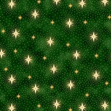 Miracle in Bethlehem Sparkling Stars on Green Fabric