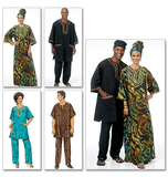 Misses'/Men's Tunic, Caftan, Pants, Hat and Head Wrap B5725/XM(S-M-L)