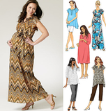 Misses'/Women's Maternity Top, Dress, Belt, Shorts and Pants B5763/B5(8-10-12-14-16)