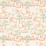 Mom & Me Giraffes on Cream Flannel Fabric