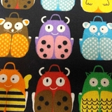 Multi Animal Backpacks on Black Fabric For Craft & Bag Making