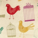 Multi Birds & Cage on Beige Fabric For Craft & Bag Making
