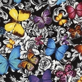 Multi Butterflies & Floral Toile on Black Fabric