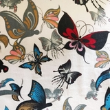 Multi Butterflies on Beige Fabric For Craft & Bag Making