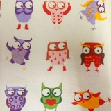 Multi Cartoon Owls on Beige Fabric For Craft & Bag Making