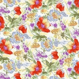 Multi Evelyns Tulips on Ivory Fabric