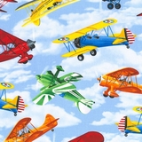 Multi Flying Planes on Sky Fabric