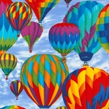 Multi Hot Air Balloons on Sky Fabric