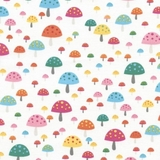 Multi Mushrooms on White Fabric