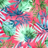 Multi Oasis Tropical Leaves on Fuchsia Fabric