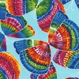 Multi Tie Dye Butterflies On Aqua Fabric