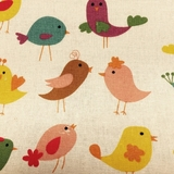 Multi Tweet Birds on Beige Fabric For Craft & Bag Making