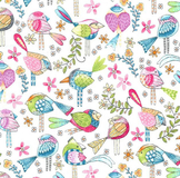 Multi Tweet Me Birds on White Fabric