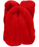 Natural Wool Roving Red 50 Grams