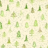 Naughty or Nice? Green Christmas Trees Ecru Fabric