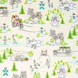 Naughty or Nice? Silly Christmas Scenic Ecru Fabric Fat Quarter