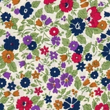 Navy Floral 100% Lawn on Cream Fabric
