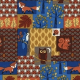 Night Time Woodland Creatures Fabric