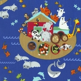 Noahs Ark Animals On Blue Fabric