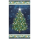 O Christmas Tree on Navy Fabric Panel