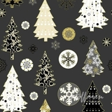 Oh What Fun Metallic Christmas Trees on Dark Grey Fabric