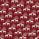Oh What Fun Metallic Deer on Red Fabric
