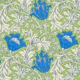 Olive & Blue Floral 100% Lawn Fabric
