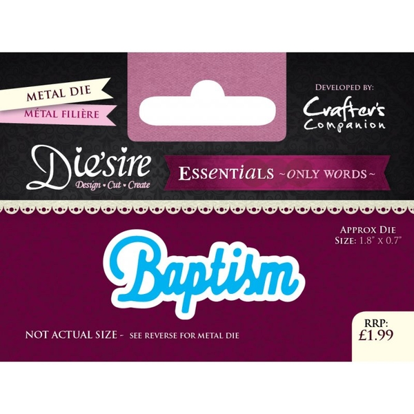 Crafter's Companion DS-E-W-30 | Baptism Die | Only Words Templates | Die Cutting