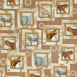 Out of Africa Animals Overlapping Patches Fabric