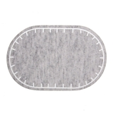 Oval Straight Edge Grey Marl Iron-On Patch