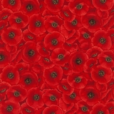 Packed Poppies Red Fabric