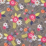 Paradise Posies in Iron Fabric Fat Quarter Single