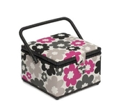 Pink and Grey Flowers on Cream Medium Squared Sewing Box