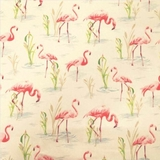 Pink Flamingos on Beige Fabric For Craft & Bag Making