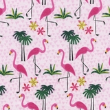 Pink Flamingos on Pink Fabric