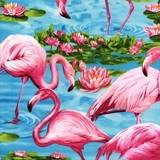 Pink Flamingos on Turquoise Fabric