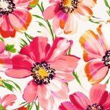 Punch Digital Fluttering Pink Floral on White Fabric